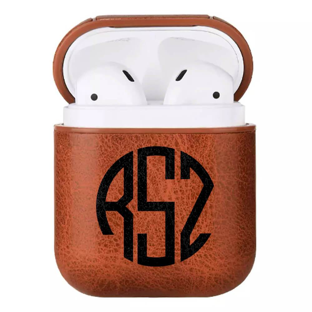 Monogram Custom Leather Airpod Case