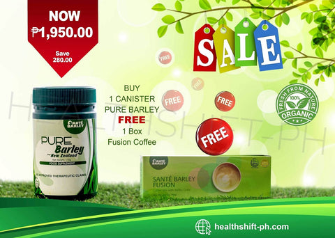 Sante Pure Barley Juice in Canister 110g with Free Fusion Coffee