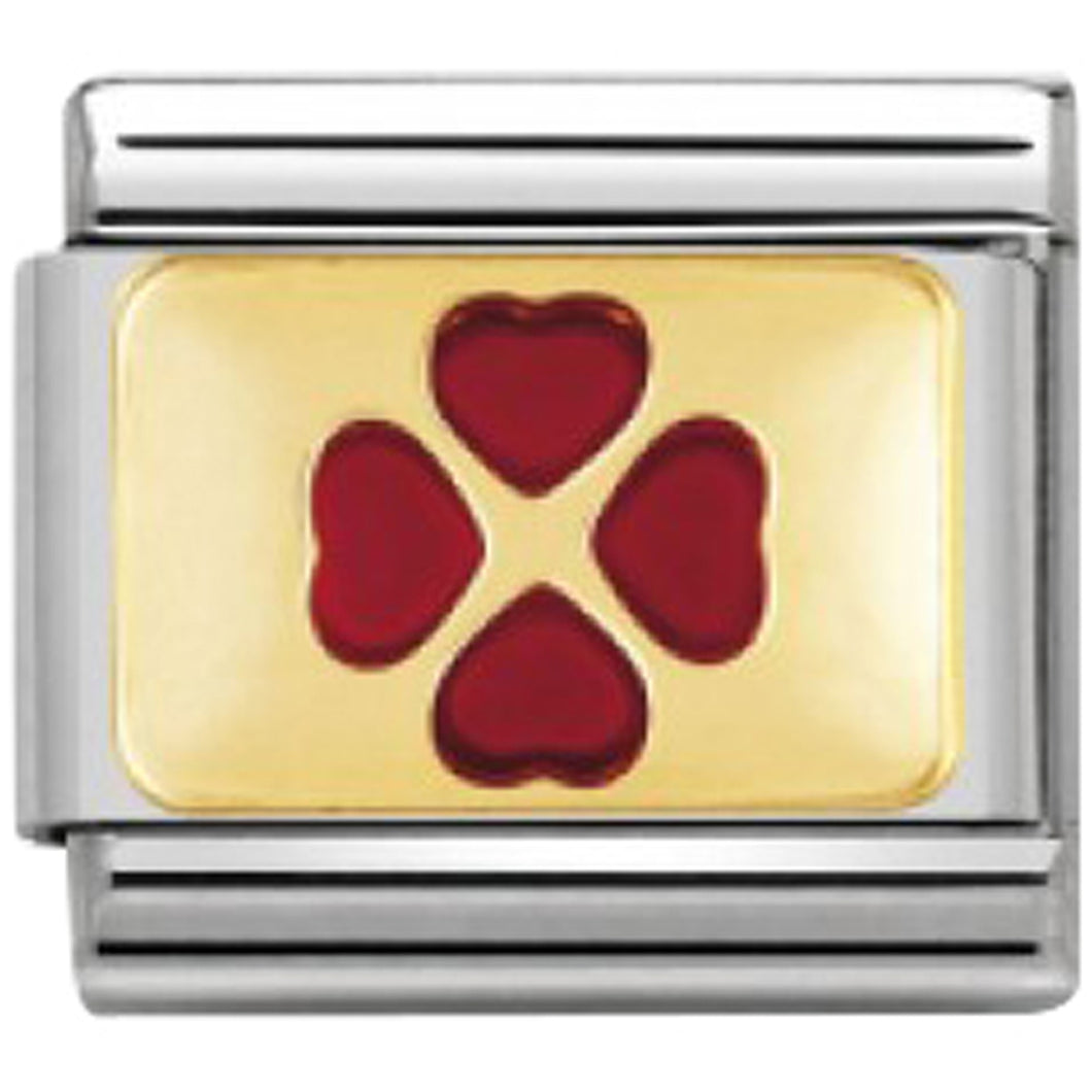 Nomination CLASSIC Gold Red Clover Charm