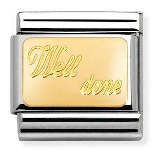 Nomination CLASSIC Gold Engraved 'Well Done' Charm