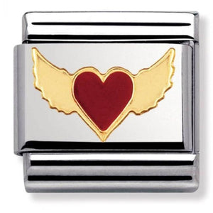 Nomination CLASSIC Gold Flying Red Heart Charm