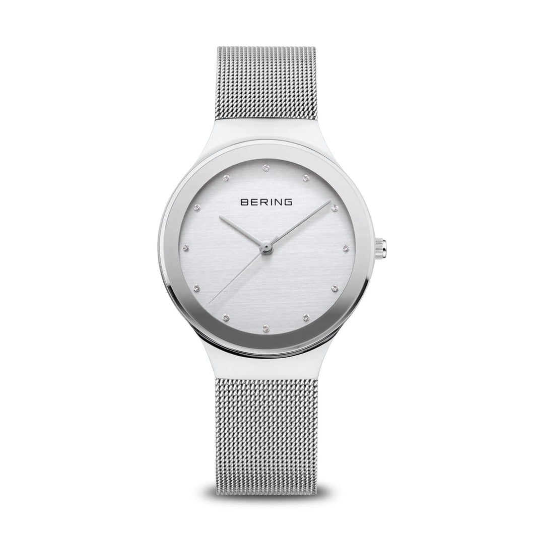 Bering Ladies Classic polished Stainless Steel white Dial Bracelet watch ref 12934-010