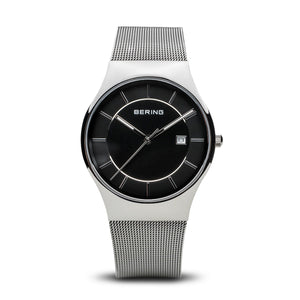 Bering Classic Gents Stainless Steel Black Dial bracelet watch 11938-002