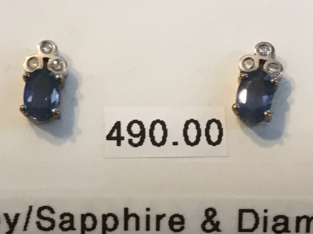Sapphire Two Tone Drop Earrings