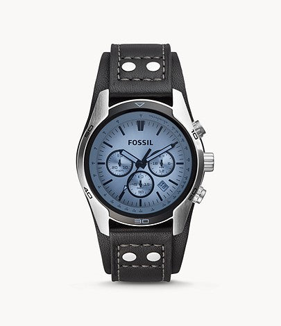 Fossil Coachman Chronograph Black Leather Gent Watch