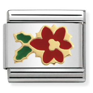 Nomination CLASSIC Gold Poinsettia Flower Charm