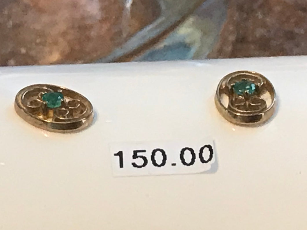 Oval Yellow Gold Emerald Earrings