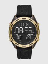 Load image into Gallery viewer, DIESEL Crusher Digital Gold Plated On Black Rubber Watch