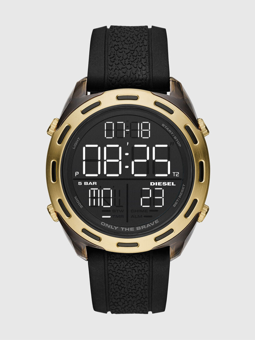 DIESEL Crusher Digital Gold Plated On Black Rubber Watch
