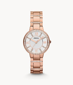 Fossil Virginia Rose-Tone Stainless Steel Lady Bracelet Watch ref ES3284
