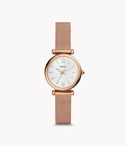 Fossil Carlie Mini Rose Gold-Tone Stainless Steel Lady Mesh Watch
