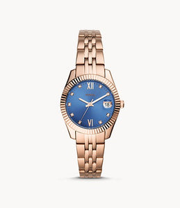 Fossil Lady Scarlette Mini Three-Hand Date Rose Gold Bracelet Watch