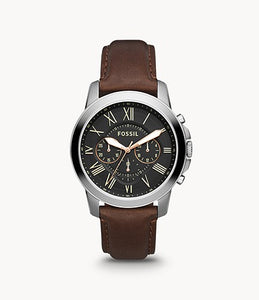 Fossil Grant Stainless Steel Chronograph Brown Leather Gent Watch
