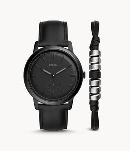 Fossil The Minimalist Two-Hand Sub-Second Black Leather Watch And Bracelet Box Set FS5500SET