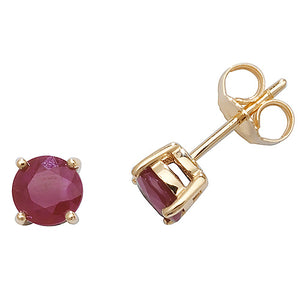 9ct Yellow Gold 5mm Ruby Stud Earrings