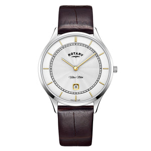 Rotary Ultra Slim Stainless Steel Date Watch on Strap ref GS08300/02