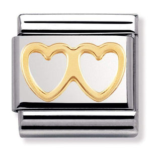Nomination CLASSIC Gold Double Heart Charm