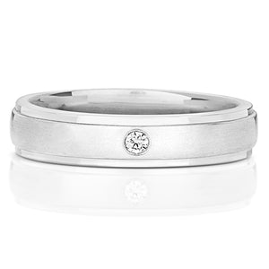 Gent's 9ct White Gold Diamond Set Ring