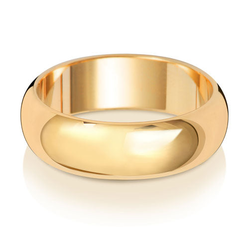 6MM D Shaped Wedding Ring