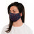 female wearing Blue Honeycomb Pattern Reusable Adult Cloth Face Mask with adjustable ear loops and nose piece, made with silver nanoparticles, washable and wearable up to 30 times | Navy honeycomb
