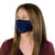 Female Model Wearing Navy blue Reusable Adult Face Mask with adjustable ear loops and nose piece, made with silver nanoparticles, washable and wearable up to 30 times | Navy adjustable