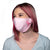 female wearing Blue flowered Reusable nano-silver 30-Day Adult Size Cloth Face Cover, with silver nanoparticles, washable & wearable up to 30 times | Breast Cancer - Pink