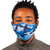 male wearing blue camo pattern 30-Day Adult Cloth Face Mask Cover with silver nanoparticles, washable and wearable up to 30 times | blue camo