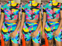 """Rainbow Camo"" 2 Pc Biker Set"