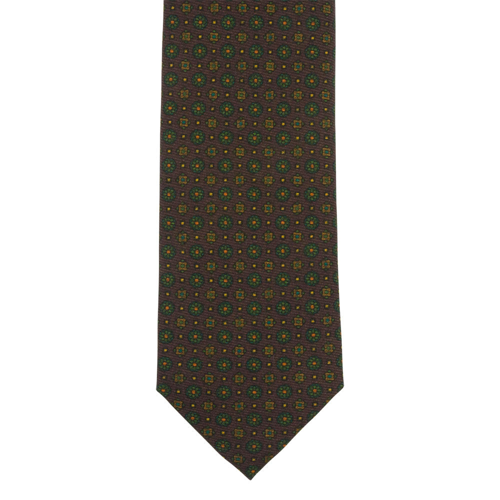 brown silk panama tie green flowers front