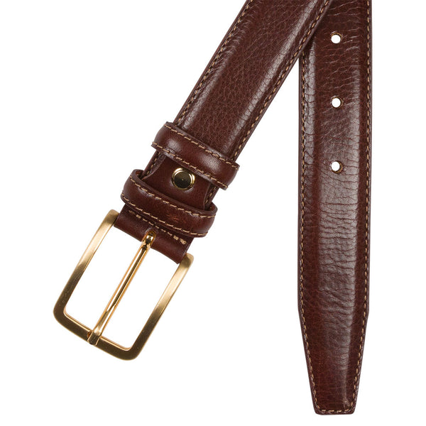 brown leather belt with brass buckle and end tip