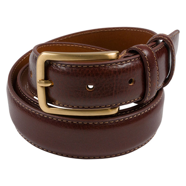 brown leather belt with brass buckle rolled