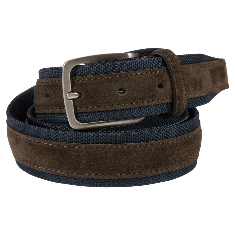 blue and brown textile and leather belt rolled