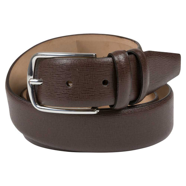 brown leather belt structured polished buckle rolled