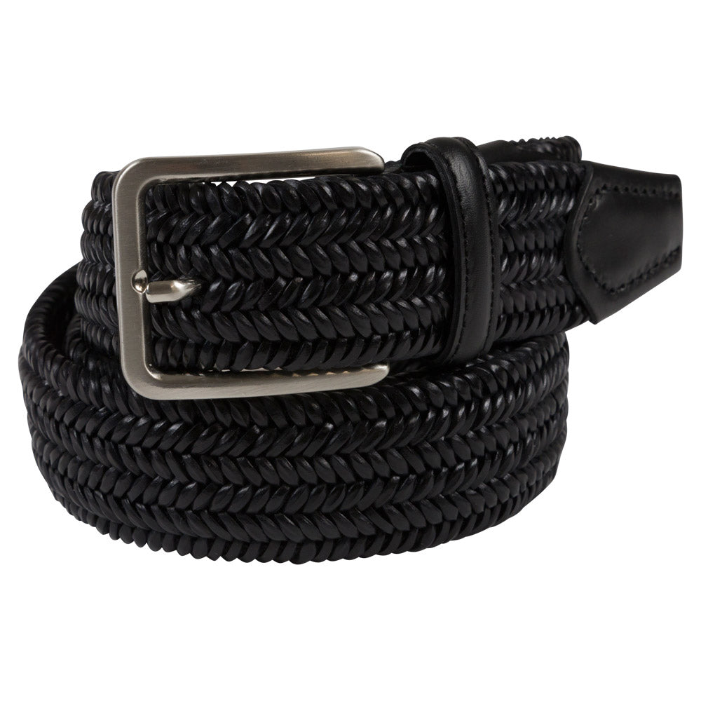 elastic black belt with black leather details rolled
