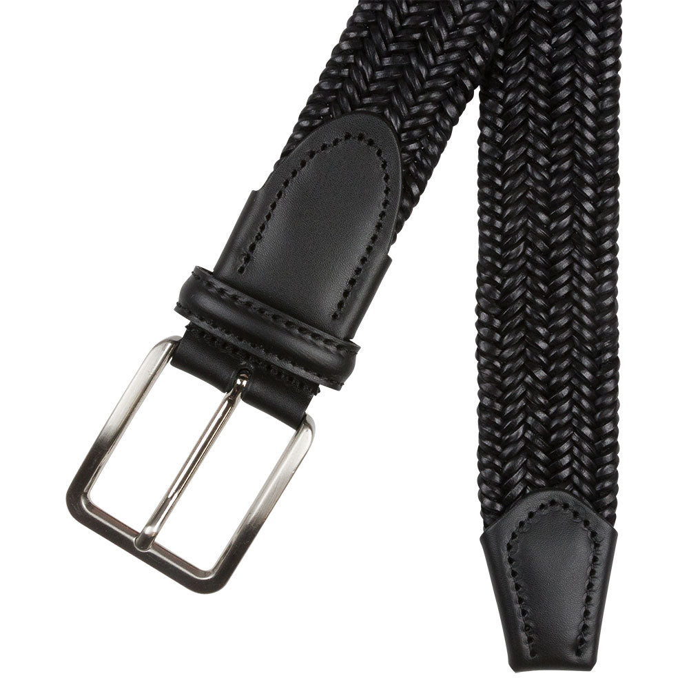 elastic black belt with black leather details buckle and endtip