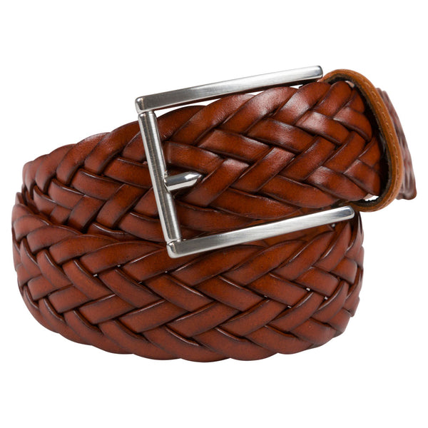 cognac fullgrain leather belt square polish buckle rolled