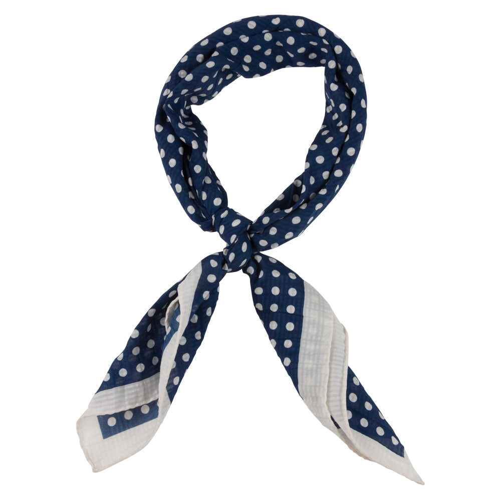 blue male bandana with white dots tied