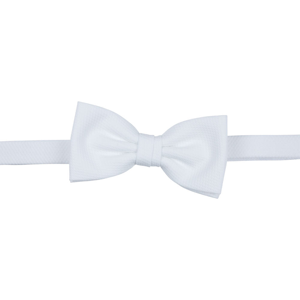 classic white pique bow tie front