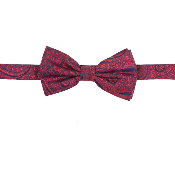 red silk bow tie pattern front