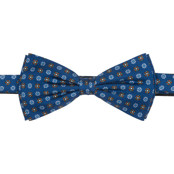 blue slik bow tie with small flowers front