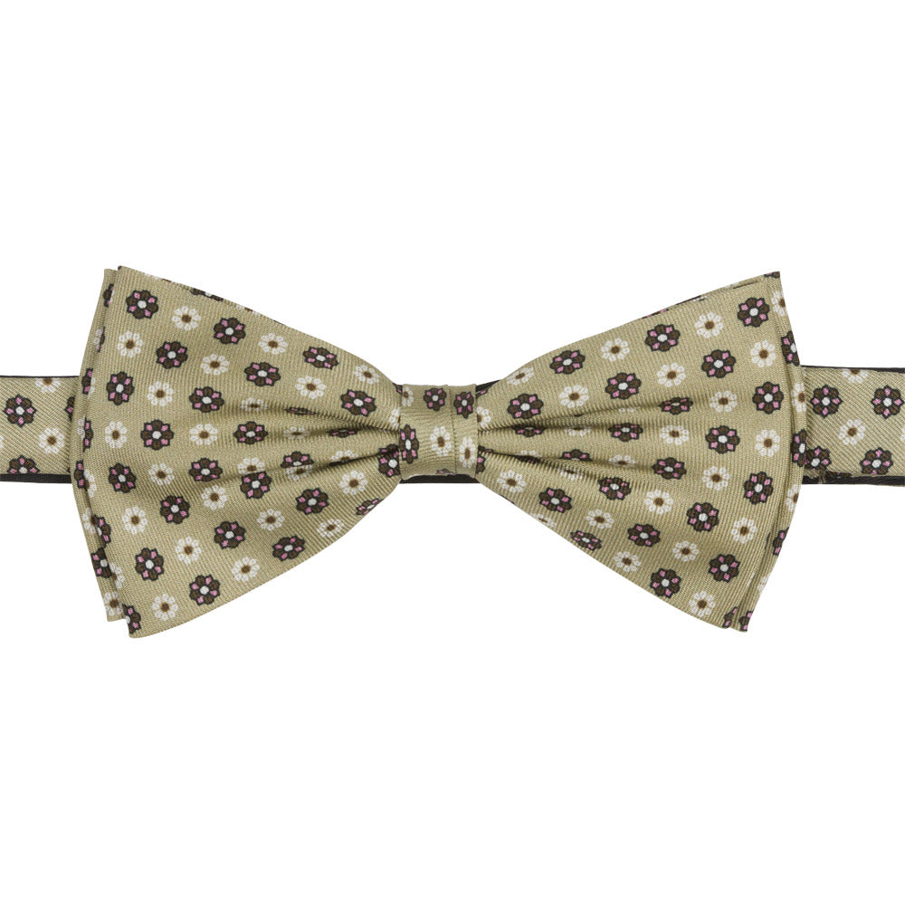 pre tied beige bow tie with small flowers front