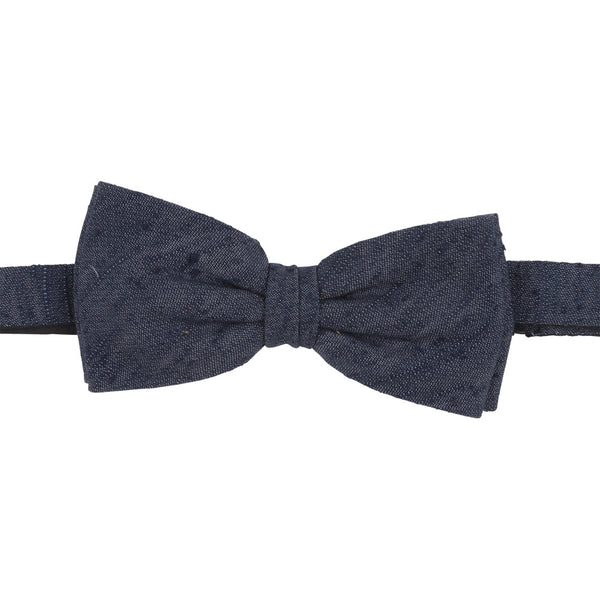 blue shantung silk bow tie front
