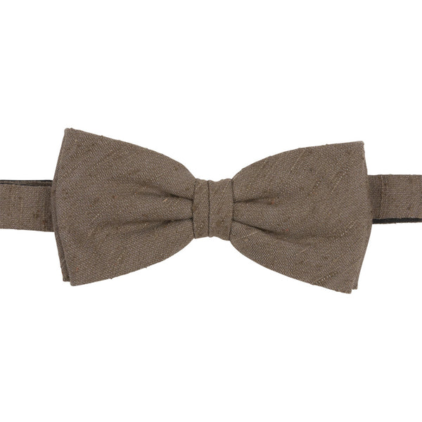 brown shantung silk bow tie front
