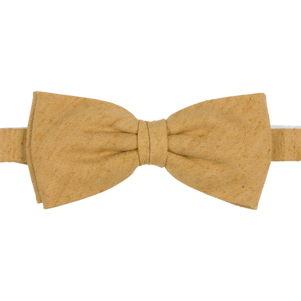 yellow shantung silk bow tie front