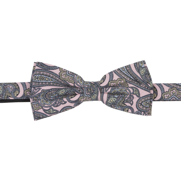 pink grey silk tropea bow tie luxury front