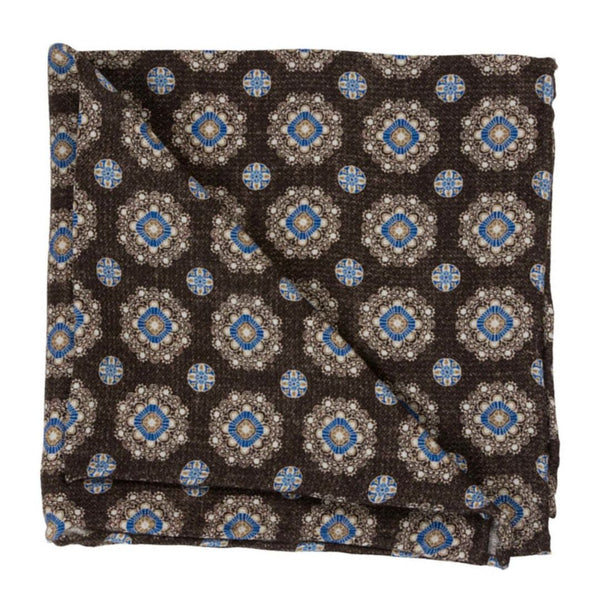 POCKET SQUARE SILK DIAMOND BROWN