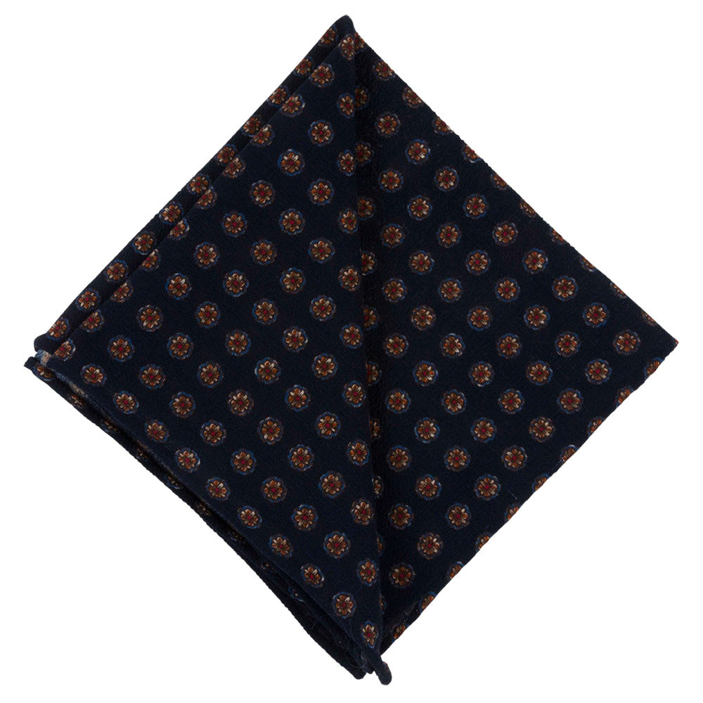 POCKET SQUARE I WOOL CREPE MARACAINE I BLUE - Portia 1924