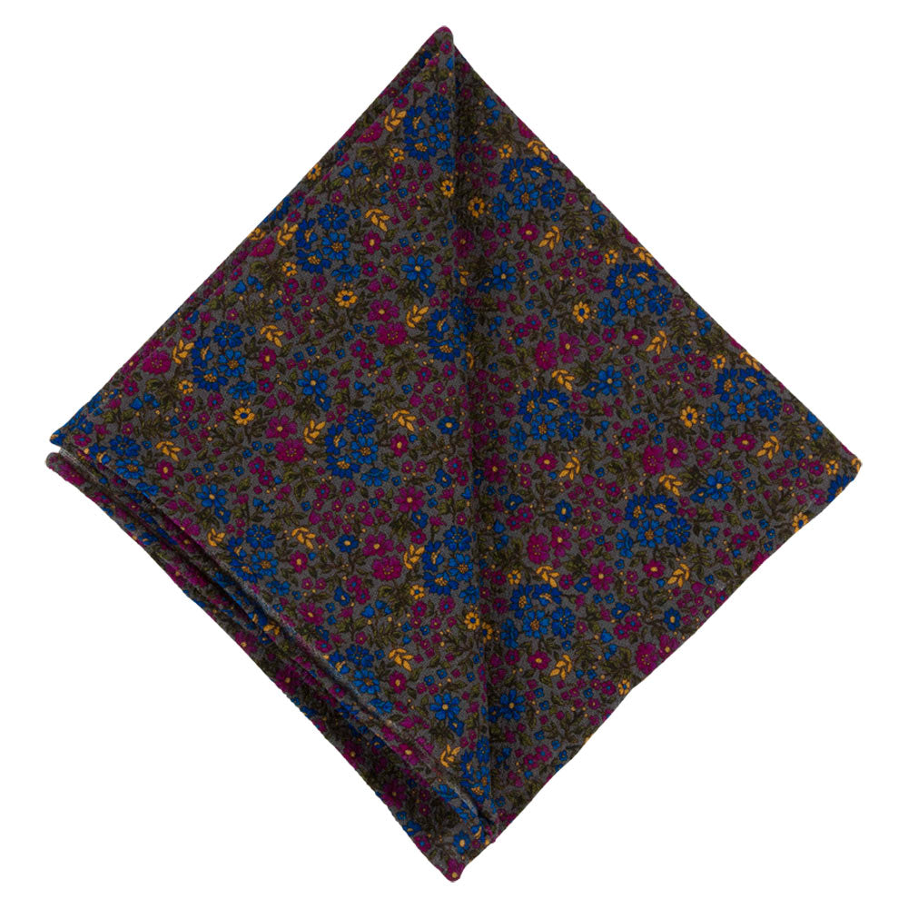 POCKET SQUARE I WOOL CREPE MARACAINE I GREY - Portia 1924
