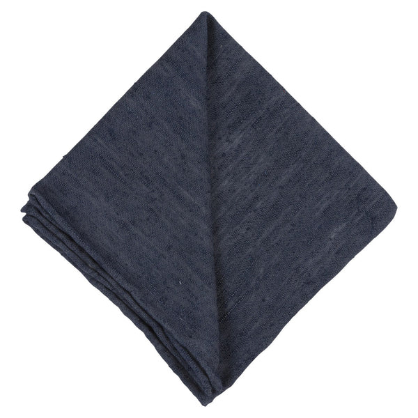 BLUE SILK SHANTUNG POCKET SQAURE
