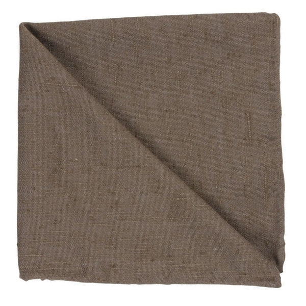 BROWN SILK SHANTUNG POCKET SQAURE
